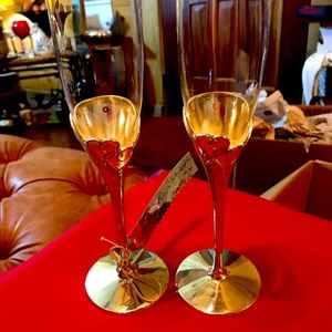 Lenox Silver plated True Love Champagne Flutes